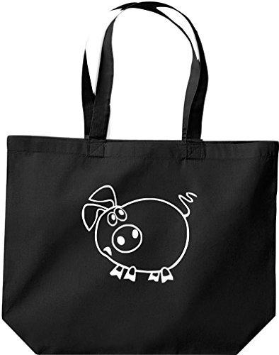 grande borsa della spesa, SHOPPER FUNNY ANIMALE Pimpi Nero