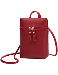 LQZ Mini PU Leather Crossbody Bag, Key Phone Cash Holder Shoulder Bag For Girls Kids Women Lady