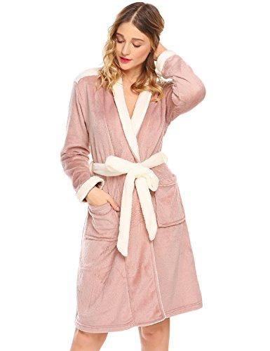 ADOME Damen Flanell Morgenmantel V-Ausschnitt Kimono Bademantel Schlafanzug Saunamantel Nachtwäsche Robe (Flanell Damen-robe)
