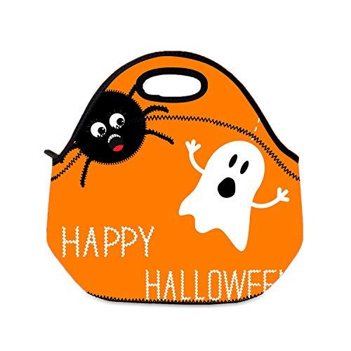 Lunchbox für Mädchen, Spinnen und Geist, Happy Halloween, Lunchbox, Picknick-Taschen, wiederverwendbar, für Damen und Kinder