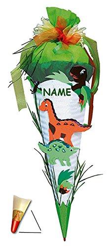 BASTELSET Schultüte Dinosaurier 85 cm incl. Namen - mit Holzspitze - Zuckertüte Roth - ALLE Größen - 6 eckig Saurier DInos T-Rex Jungen