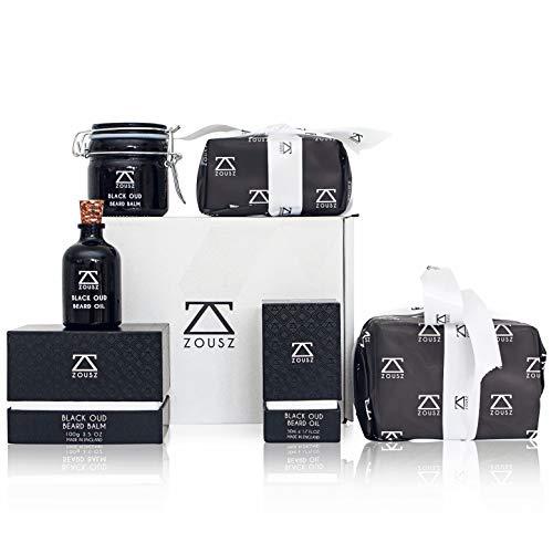 ZOUSZ Bartpflege Kollektion Beard Grooming Set | Luxus Oud Bartöl (50mL) | Prämie Oud Bart Balsam (100mL) | Herren Geschenkset | Bartpflege Kit Geschenk Verpackt - Barts-kollektion