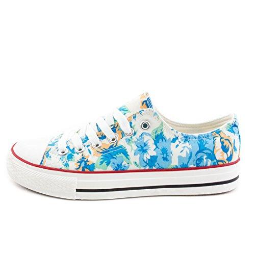 Trendige Unisex Damen Kinder Herren Schnür Sneaker Low Top Schuhe Canvas Textil Blau Flora