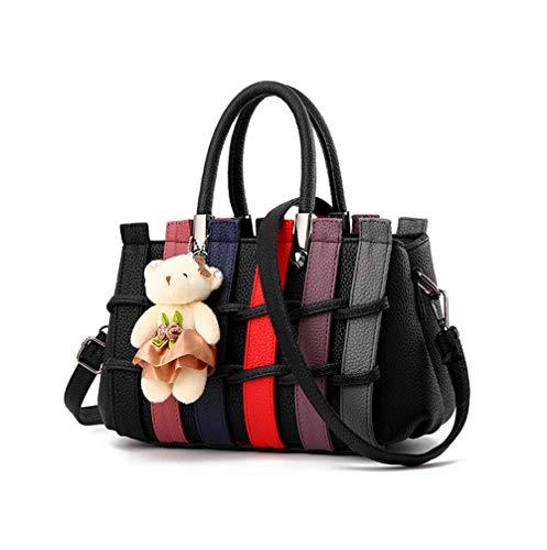 JUND Damen Fashion Gehäkelt Handtaschen Elegant Patchwork Henkel Ledertasche Groß Lässig Umhängetasche Shopper UmhängetascheSchultertasche Messenger Bag Süßes Kaninchen ()