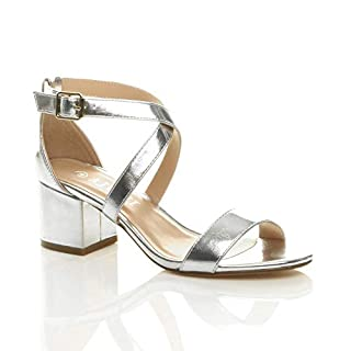 Ajvani Womens Ladies mid Low Block Heel Cross Straps Party Strappy Sandals Size 6 39 Silver
