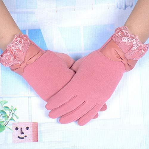 Pink Lace Fingerlose Handschuhe - VGJLPOD Elegante Damenhandschuhe FashionWinter Warm Bogen