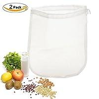 "OldPAPA 2 Pack Nut Milk Bag Big 12""X12"" Reusable Food Grade Filter Almond Milk Bags All Purpose Food Strainer - Fine Mesh Nylon for Vegetable Fruit Juice Filter-150 Micron"