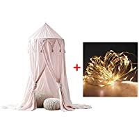 Bed Canopy with Lights,Mosquito Net Kids Round Dome Play Tent,Curtain Bedding Round Tent for Bedroom Decoration