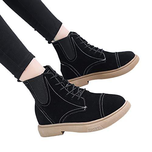 Stiefel Damen Boots Neu Tube Seiten Zipper Stiefeletten Gürtelschnalle Hohe Stiefel Stiefel Britische Stil Freizeitschuhe Schnürstiefel ABsoar