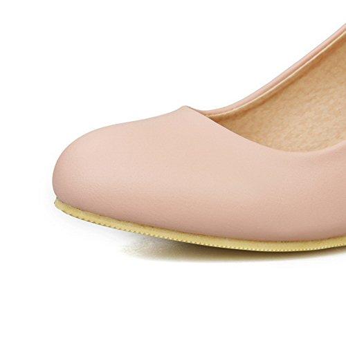 AllhqFashion Damen Pu Mittler Absatz Rund Zehe Rein Schnalle Pumps Schuhe Pink