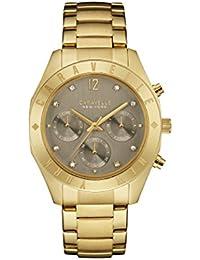 Caravelle New York Oro Boyfriend–Reloj de cuarzo para mujer con gris Dial Cronógrafo y oro amarillo Pulsera 44l191