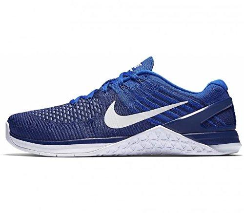 Nike Metcon del hombre DSX Flyknit, Deep Royal Blue/White - 852930, Azul rey oscuro/Blanco