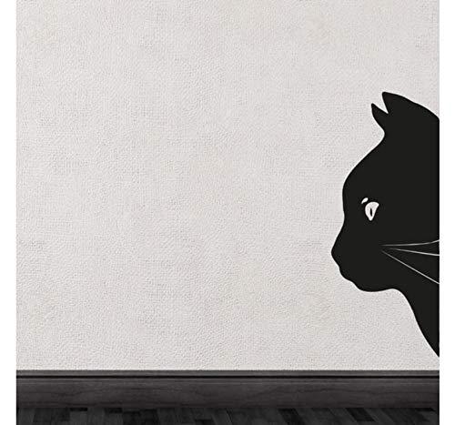 (WFYY Schwarze Katze Kopf halbe Silhouette niedlich spezielle Wandtattoos Kunst einzigartige Dekor 32X75cm)