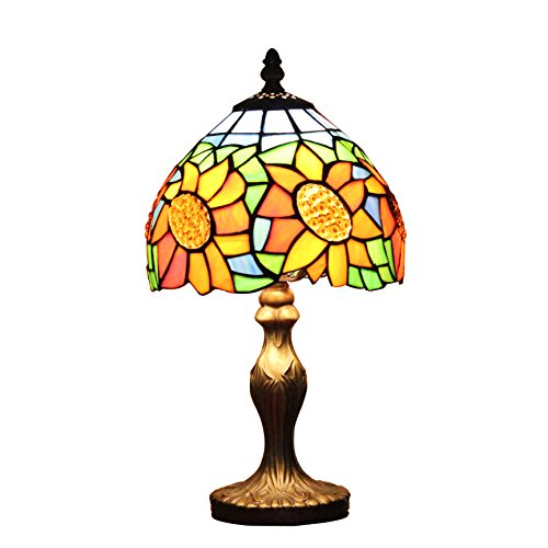 Gweat 8-Zoll-moderne einfache Luxus Sunflower Tiffany Tischlampe Nachttischlampe Schreibtischlampe Kinderlampe