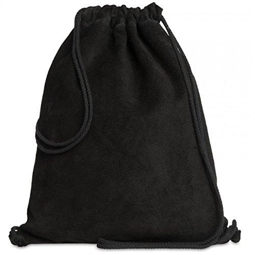 CASPAR TL713 Unisex Wildleder Turnbeutel, Farbe:schwarz;Größe:One Size (Kordelzug-wildleder-beutel)