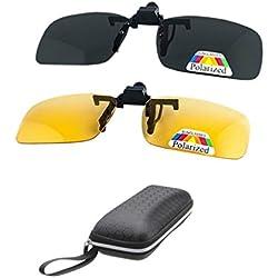 2 pares de gafas de sol HD polarizadas + visión nocturna Gafas Clip para hombres miopes Mujeres UV400 reduce reflejos de reflejos ideales para conducir Caza de tiro - amarillo + gris