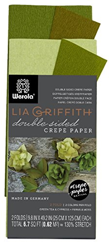 Sconosciuto Lia Griffith Double Sided Crepe Paper Folds Roll, 6.7-Square Feet, Green Tea and Cypress, Ferns and Moss (LG11023)