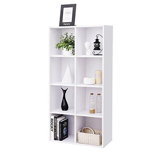 SONGMICS Bibliothèque à 8 casiers en bois Étagère de Rangement Armoire Maison Bureau Couleur blanche LBC24WT