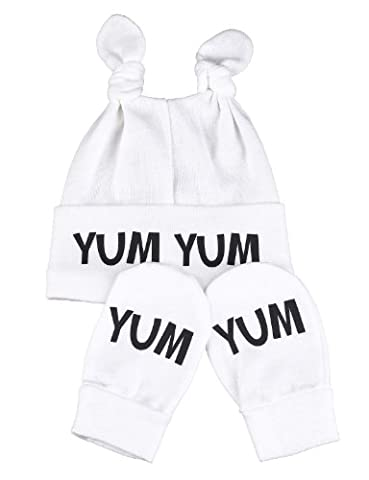 Spoilt Rotten - Yum Yum Knot Hat & Scratch Mits Baby Set