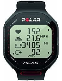 Polar RCX5 - Reloj para triatlón con pulsómetro, sumergible y compatible con GPS, sensor de zancada, de cadencia y de velocidad (negro)