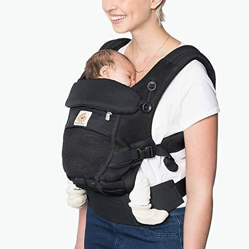 ERGObaby Adapt Babytrage, Tragen von Geburt an ohne neugeborenen Einsatz, Atmungsaktiver Stoff, schwarz