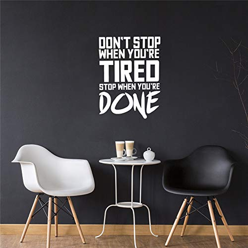 Don't Stop When You're Tired Inspirational Gym Quotes Wall Art Vinyl Decal Decoration Sticker Home Wall Decor Fitness Mural red M 58cm X 81cm - Aaron Wall Design
