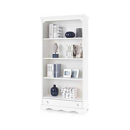 Inhouse srls libreria, arte povera, in legno massello e mdf con rifinitura in bianco opaco - mis. 94 x 36 x 189