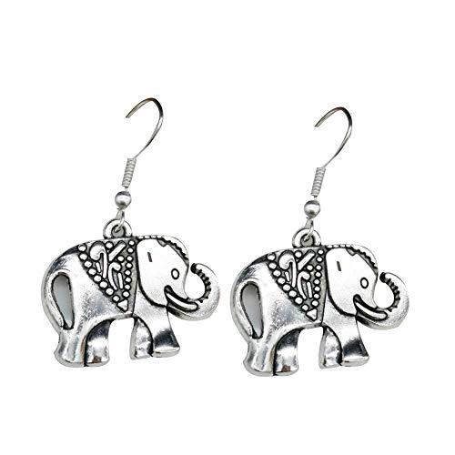 Schöne Ethnische Ohrring Versilbert Elefanten Form Anhänger Ohrringe Haken Schmuck Zubehör für Frauen Mädchen Geburtstag Festival Party Geschenk
