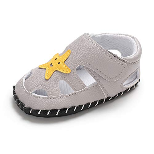 Moderne Mädchen (Geagodelia Baby Sandalen Weicher Lauflernschuhe Hausschuhe für Kleinkind Junge Mädchen mit Modern Sterne Muster (6-12 Monate, Hellgrau))