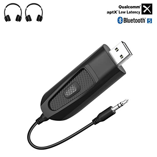 USB Trasmettitore Bluetooth 5.0, aptX Bassa Latenza, 3,5 mm Adattatore Audio Wireless Supporta due cuffie Bluetooth per TV, PC, Tablet,...
