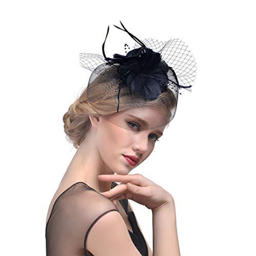 (OLADO Melone Blume Haarspange für Frauen Braut Gaze Schleier Federschmuck Mode Hochzeit Headwear)