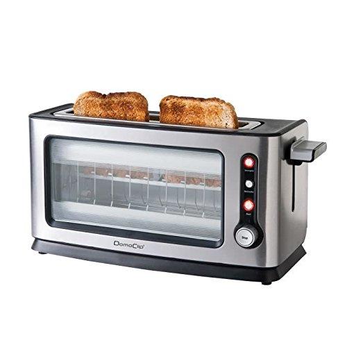 Domoclip Premium 106DOD Toaster mit Sichtfenster, gebürstetes Aluminium, 40,3x15x20cm
