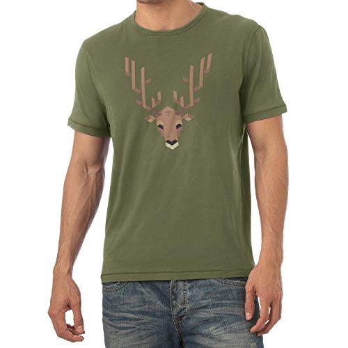 TEXLAB - Simple Stag - Herren T-Shirt, Größe S, oliv (Firefox Mädchen Kostüm)
