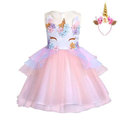 173cba18f FONLAM Vestido de Fiesta Princesa Niña Bebé Disfraz de Unicornio ...