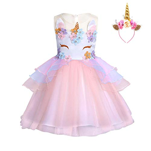 982a5aaf1 FONLAM Vestido de Fiesta Princesa Niña Bebé Disfraz de Unicornio Ceremonia  Cumpleaños Vestido Infantil Flores Carnaval