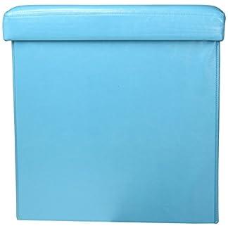 41m9T9QPo5L. SS324  - TENDANCE 2 en 1 Puff Plegable y almacenaje - Aspecto Piel - Color Azul Turquesa