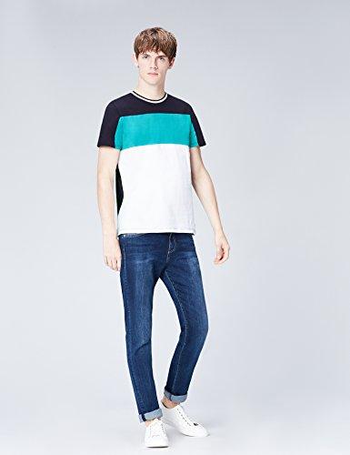 FIND T-Shirt Herren mit Streifen und Colour-Blocking Weiß (White) ...