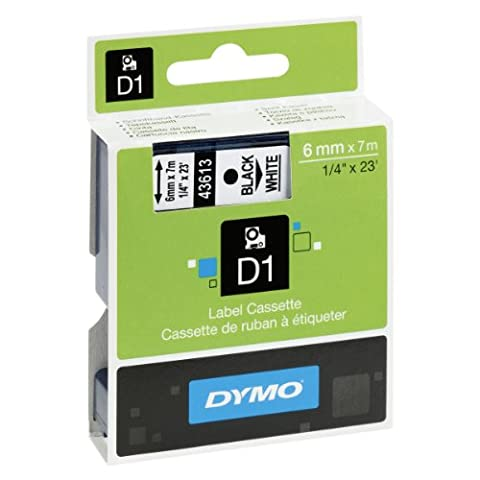 Dymo D1 Standard Self-Adhesive Labels for LabelManager Printers, 6 mm x 7 m - Black Print on White