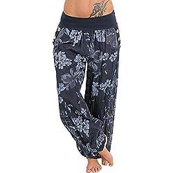 MORCHAN ❤ Femmes Pantalons décontractés Impression Large Jambe Bouton de Poche lâche Jeans Sarouel Combinaisons Collants Courts Pantalon Leggings Knickerbockers(M,Marine)