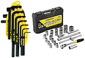 Stanley 69-253 Hex Key Set (10-Pieces) + Stanley STMT72795-8 Drive Metric 1/2 inch Socket Set (24-Pieces)