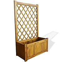 Tidyard Garden Planter with Trellis Garden Climbing Flower Plant Wooden Decking Trough