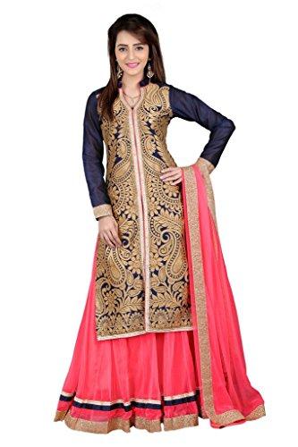 BanoRani Navy Blue & Carrot Pink Color Jute Jacqaurd & Net Self Design With Zari & Lace Work Lehenga Choli (Sharara)  available at amazon for Rs.1549