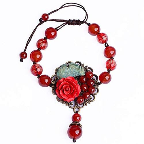 WFYJY-Ethnische Wind Armband Persönlichkeit Passende Accessoires Schmuck Retro Handgewebten Dem Jahr des Schicksals Rote Agate Streicher Geschenke
