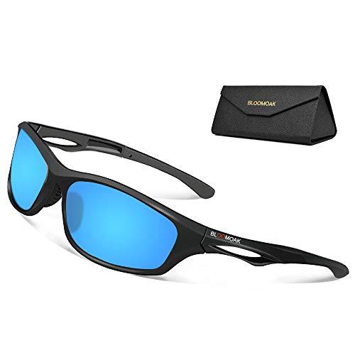 Bloomoak Beste Polarisierte Sonnenbrillen Radsport-Brillen Herren & Damen/UV-Schutz/unzerbrechlicher TR90-Rahmen - geeignet für Fahren/Laufen/Radfahren/Angeln/Go (Blau)