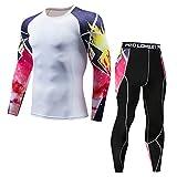 POIUDE Ausverkauf Herren Fitness - Funktionsshirts Schnelltrocknende Kompressions Langarm Fußball Bodywear Layer Pants Set(Weiß, XX-Large)