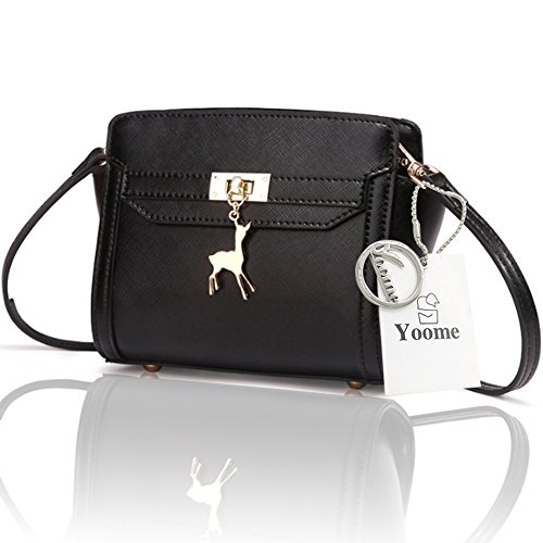 Yoome Cross Pattern Little Deer Decorazione Wings Casual Borsa Piccola Makeup Bag per Bambini Borsa - Blu Nero