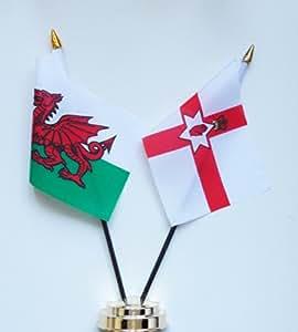 Wales, Nordirland Freundschaft Tabelle Flag Display 25 cm (25.40 cm)
