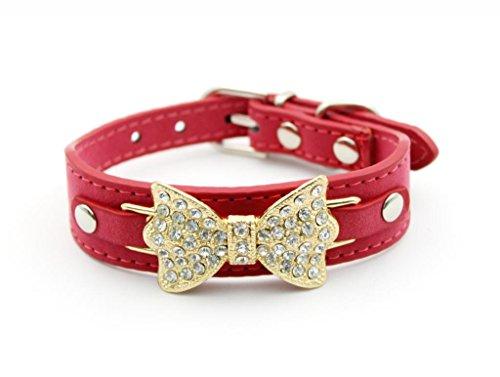 Red Velvet Strass (Namsan Velvet Gold Strass bowknot fuer Welpen Hund Doggy Katzen Halsbaender -Red -Extra Kleine)