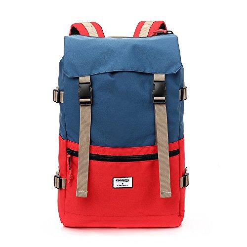 15.6 Zoll Laptop-Rucksack wasserdicht für Damen Mädchen - Kordelzug Schulrucksack Turnbeutel Tagesrucksack Backpack für Wandern Reise Outdoor Freizeit Blau & Rot von KINGSLON