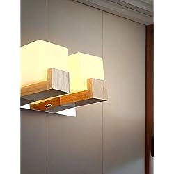 MSAJ-Lámparas de pared minimalista moderno, apliques de pared LED estilos modernos y contemporáneos de madera Bambú , white-220-240v